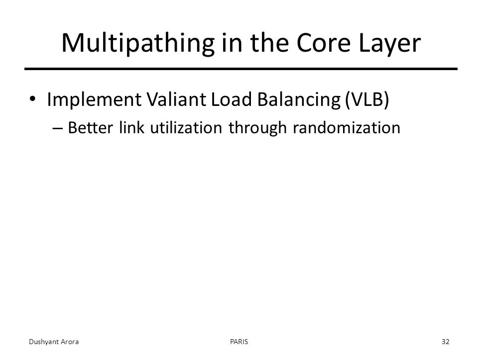 Implement Valiant Load Balancing (VLB) – Better link utilization through randomization Dushyant AroraPARIS32 Multipathing in the Core Layer
