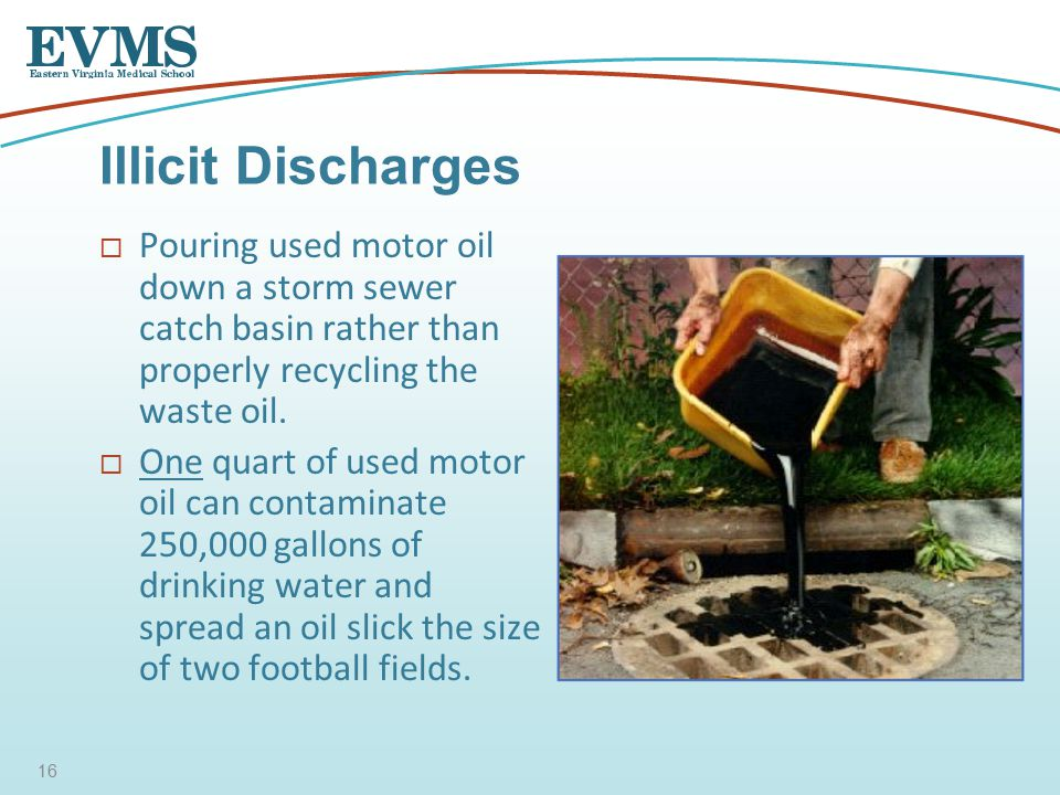  Pouring used motor oil down a storm sewer catch basin rather than properly recycling the waste oil.