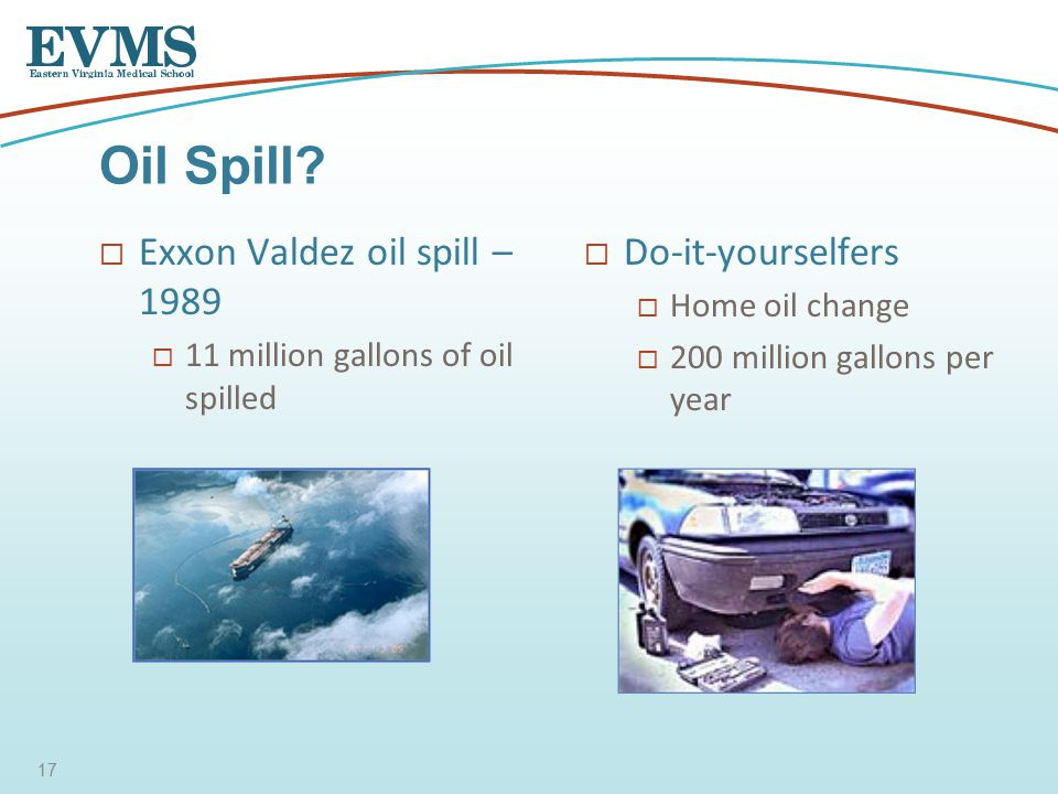  Exxon Valdez oil spill – 1989  11 million gallons of oil spilled  Do-it-yourselfers  Home oil change  200 million gallons per year Oil Spill.