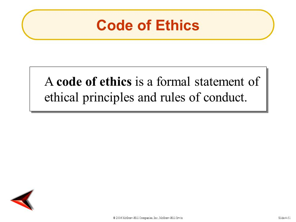 © 2006 McGraw-Hill Companies, Inc., McGraw-Hill/IrwinSlide 4-51 Code of Ethics A code of ethics is a formal statement of ethical principles and rules of conduct.