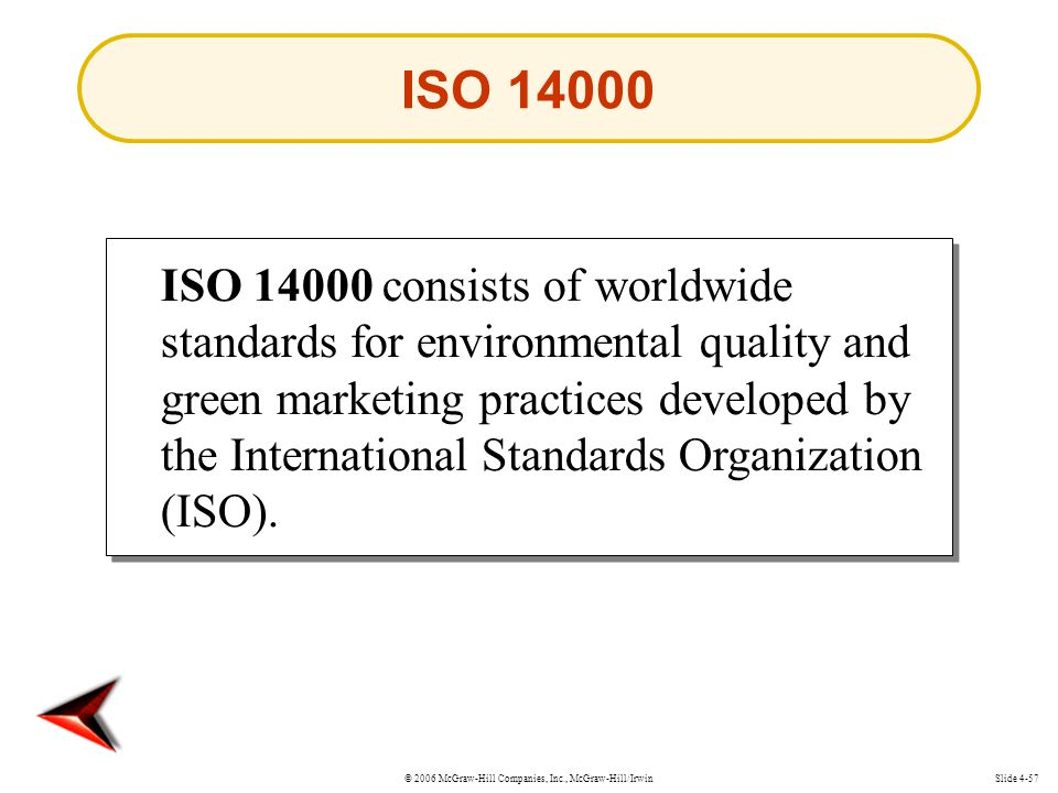 © 2006 McGraw-Hill Companies, Inc., McGraw-Hill/IrwinSlide 4-57 ISO consists of worldwide standards for environmental quality and green marketing practices developed by the International Standards Organization (ISO).