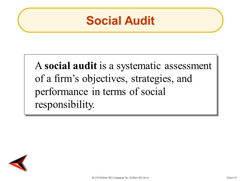 © 2006 McGraw-Hill Companies, Inc., McGraw-Hill/IrwinSlide 4-59 A social audit is a systematic assessment of a firm's objectives, strategies, and performance in terms of social responsibility.