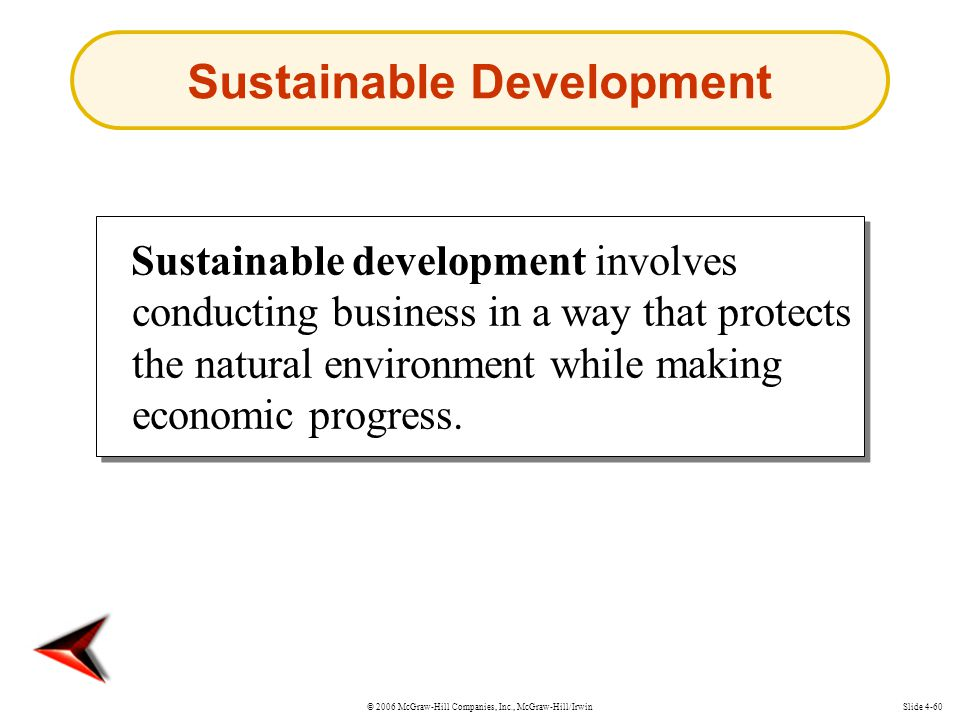 © 2006 McGraw-Hill Companies, Inc., McGraw-Hill/IrwinSlide 4-60 Sustainable development involves conducting business in a way that protects the natural environment while making economic progress.