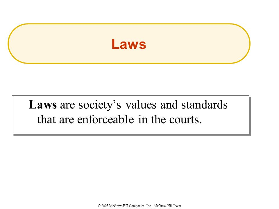 © 2003 McGraw-Hill Companies, Inc., McGraw-Hill/Irwin Laws are society's values and standards that are enforceable in the courts.