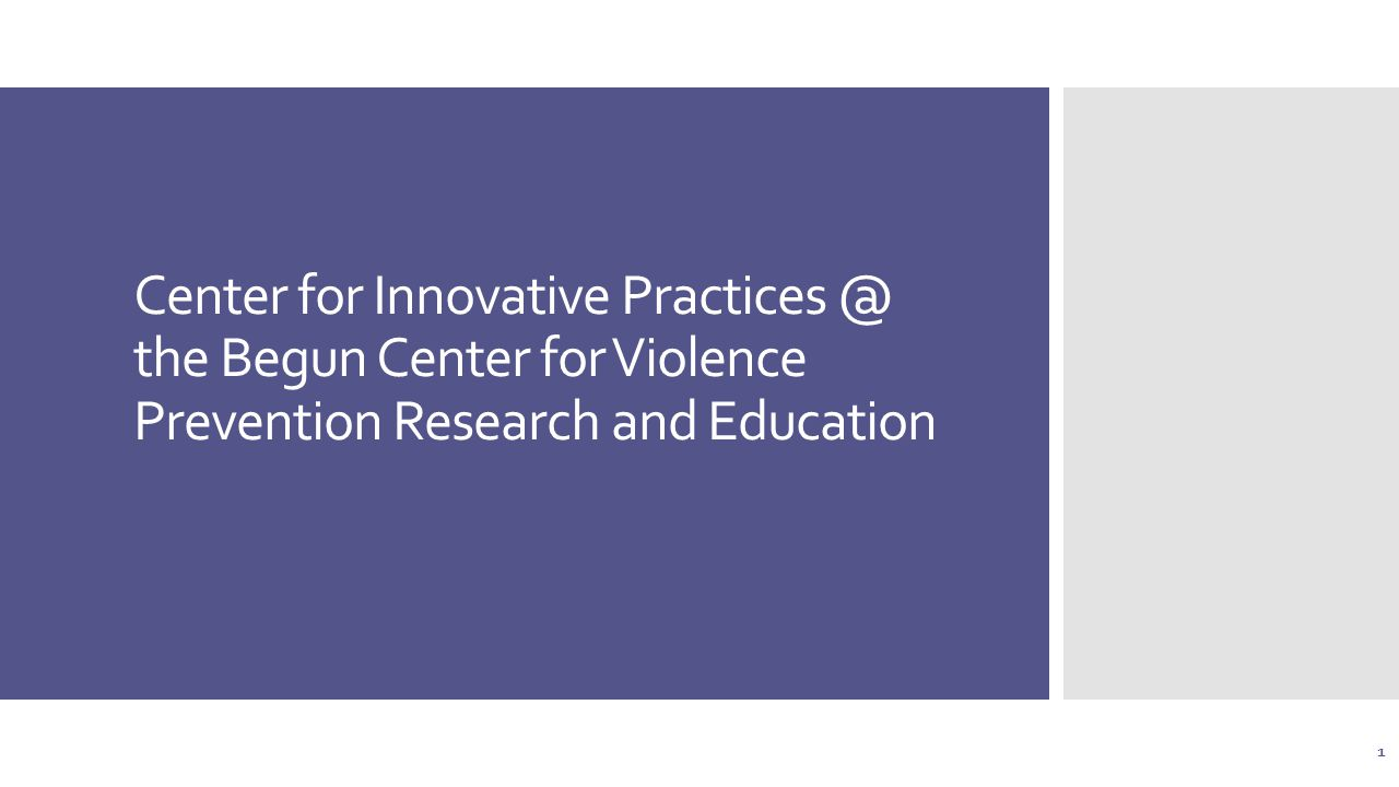 Center for Innovative the Begun Center for Violence Prevention Research and Education 1