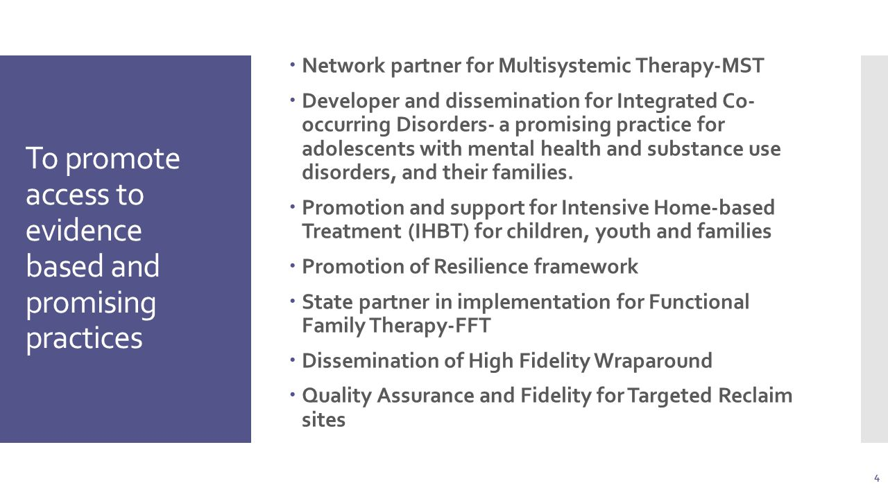 To promote access to evidence based and promising practices  Network partner for Multisystemic Therapy-MST  Developer and dissemination for Integrated Co- occurring Disorders- a promising practice for adolescents with mental health and substance use disorders, and their families.