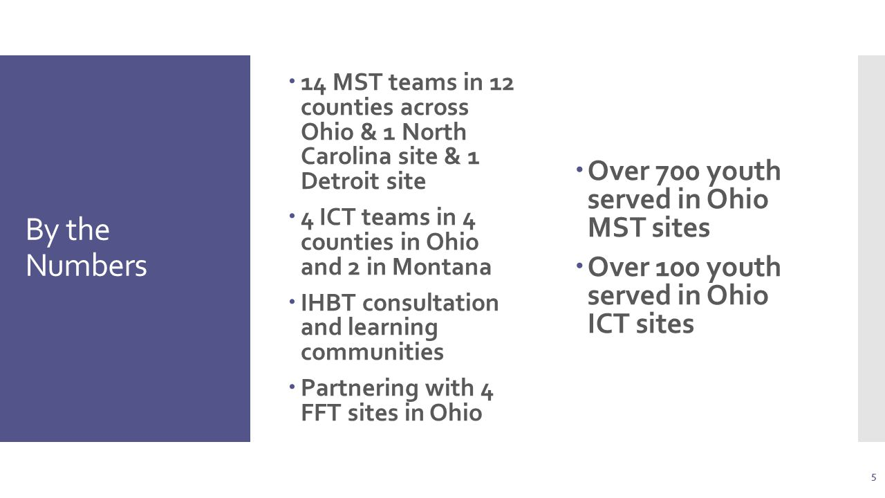 By the Numbers  14 MST teams in 12 counties across Ohio & 1 North Carolina site & 1 Detroit site  4 ICT teams in 4 counties in Ohio and 2 in Montana  IHBT consultation and learning communities  Partnering with 4 FFT sites in Ohio  Over 700 youth served in Ohio MST sites  Over 100 youth served in Ohio ICT sites 5
