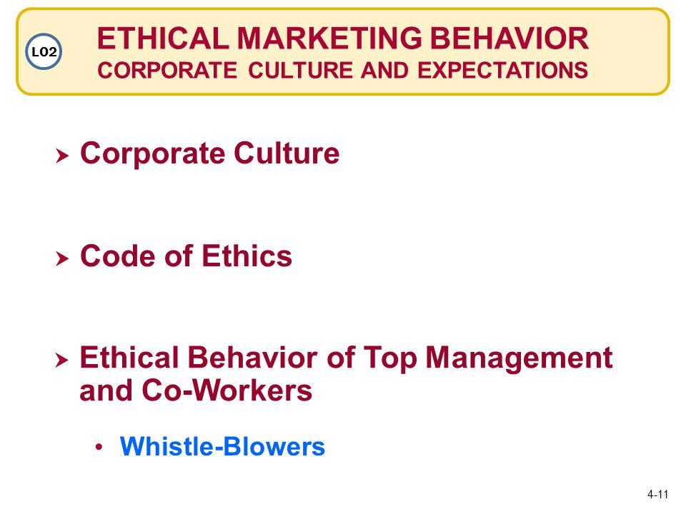 ETHICAL MARKETING BEHAVIOR CORPORATE CULTURE AND EXPECTATIONS LO2  Corporate Culture  Code of Ethics Code of Ethics  Ethical Behavior of Top Management and Co-Workers Whistle-Blowers 4-11