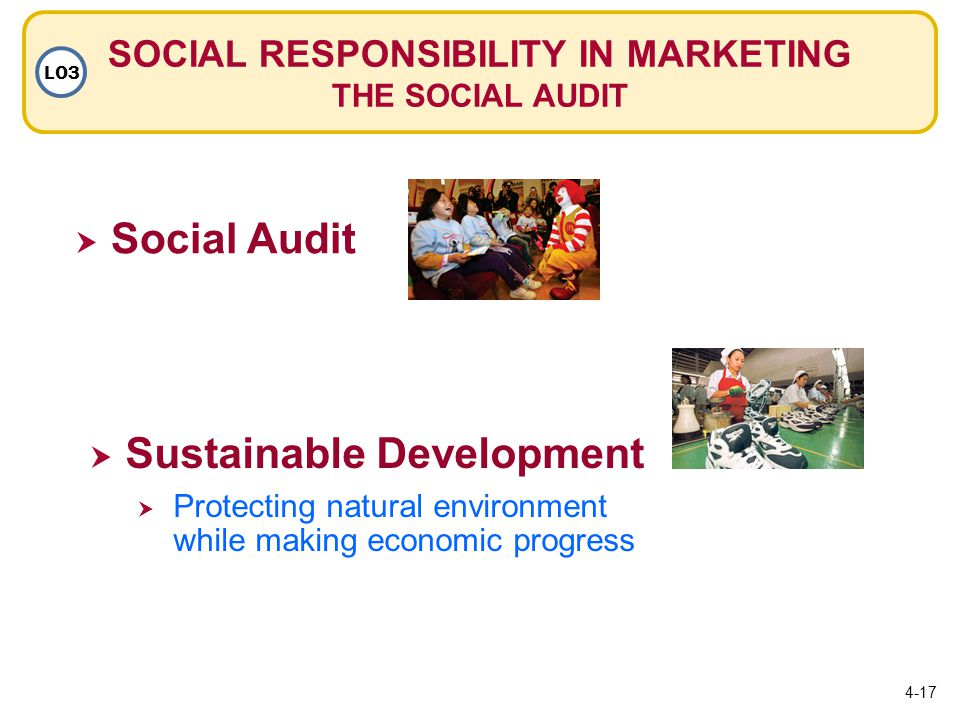SOCIAL RESPONSIBILITY IN MARKETING THE SOCIAL AUDIT LO3  Social Audit Social Audit  Sustainable Development Sustainable Development  Protecting natural environment while making economic progress Protecting natural environment while making economic progress 4-17