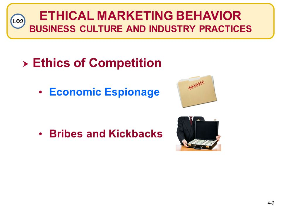 ETHICAL MARKETING BEHAVIOR BUSINESS CULTURE AND INDUSTRY PRACTICES LO2  Ethics of Competition Economic Espionage Bribes and Kickbacks 4-9