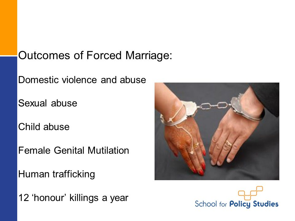 Outcomes of Forced Marriage: Domestic violence and abuse Sexual abuse Child abuse Female Genital Mutilation Human trafficking 12 'honour' killings a year