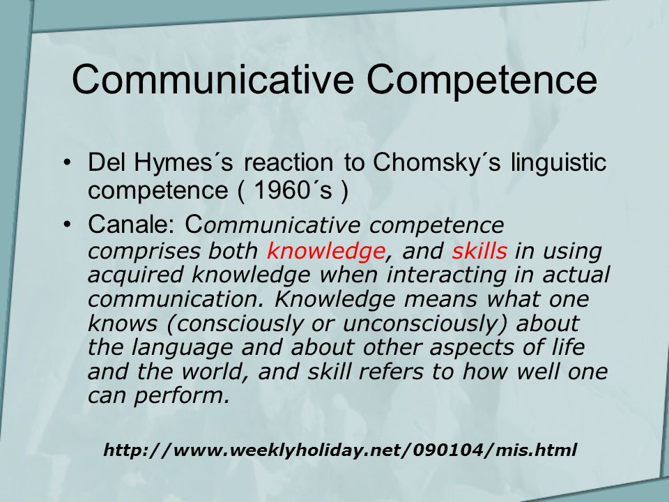 Communicative Competence Del Hymes´s reaction to Chomsky´s linguistic competence ( 1960´s ) Canale: C ommunicative competence comprises both knowledge, and skills in using acquired knowledge when interacting in actual communication.