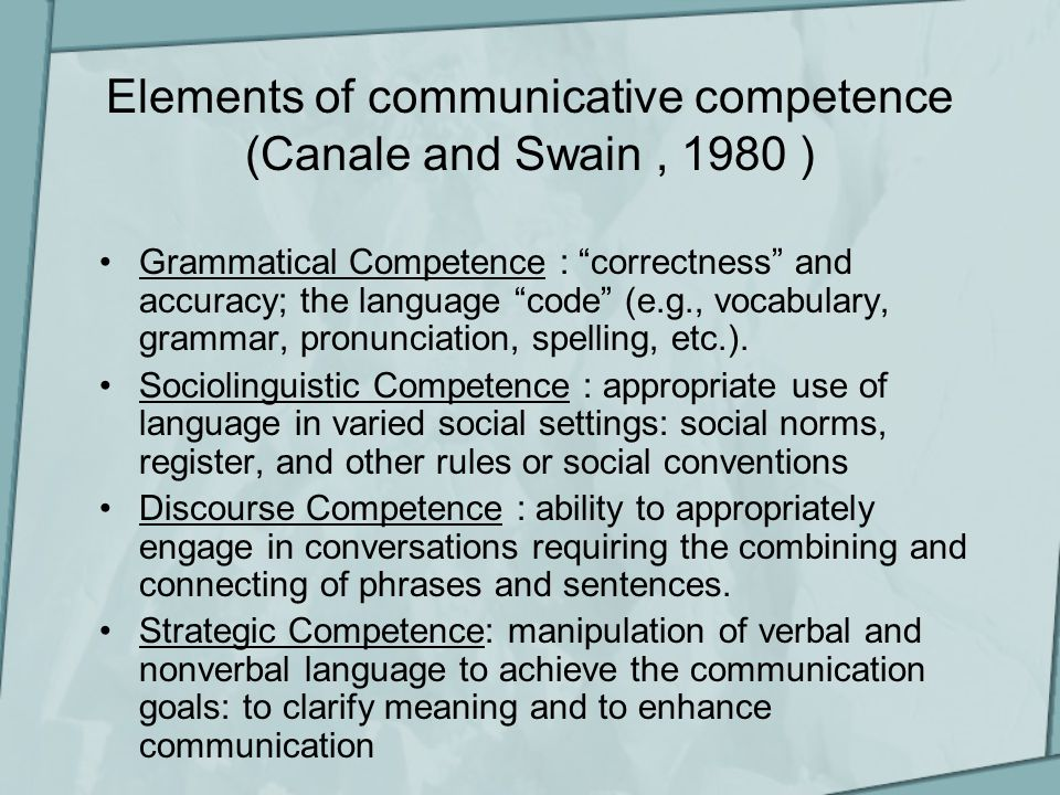 Elements of communicative competence (Canale and Swain, 1980 ) Grammatical Competence : correctness and accuracy; the language code (e.g., vocabulary, grammar, pronunciation, spelling, etc.).