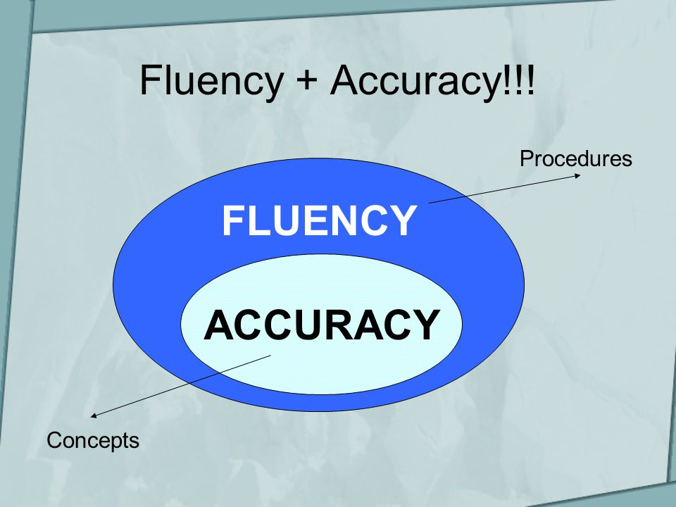 Fluency + Accuracy!!! FLUENCY ACCURACY Procedures Concepts