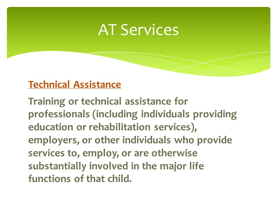 AT Services Technical Assistance Training or technical assistance for professionals (including individuals providing education or rehabilitation services), employers, or other individuals who provide services to, employ, or are otherwise substantially involved in the major life functions of that child.
