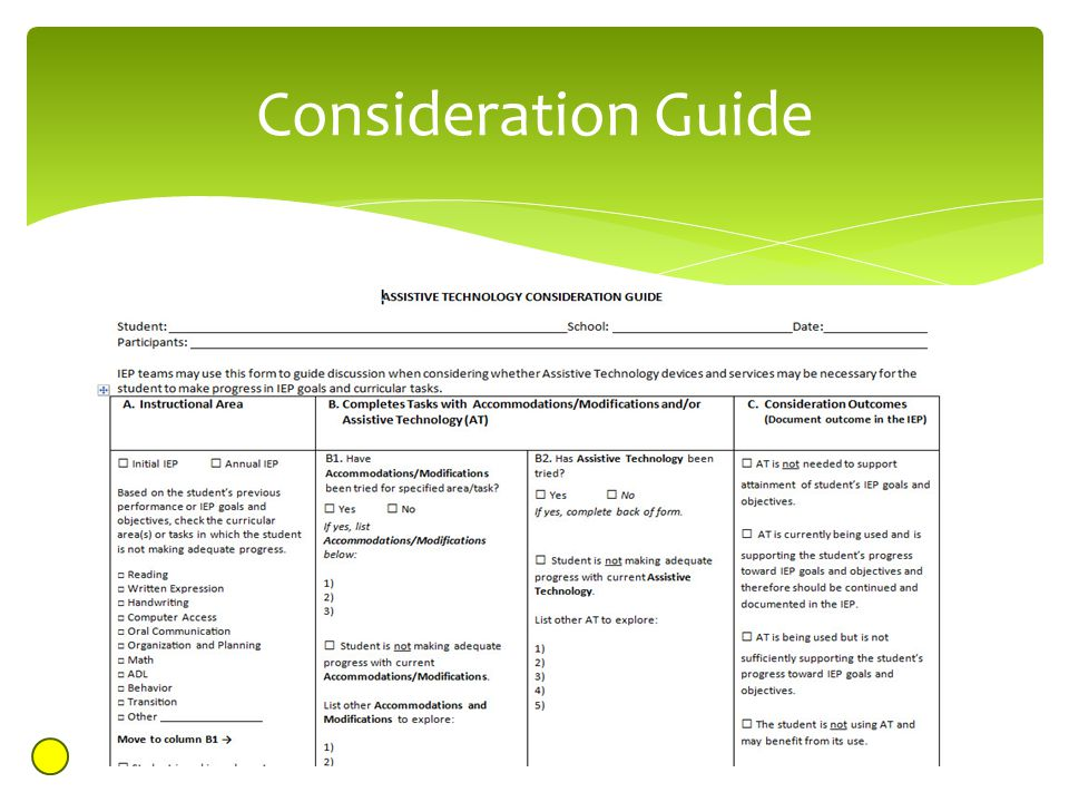 Consideration Guide