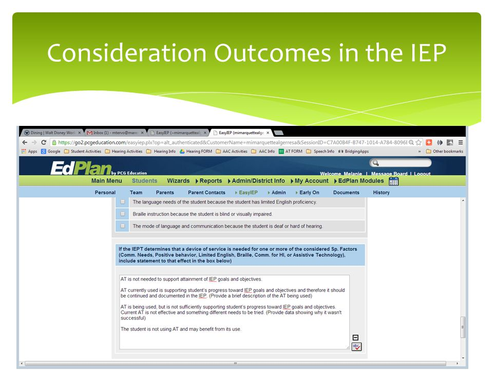 Consideration Outcomes in the IEP