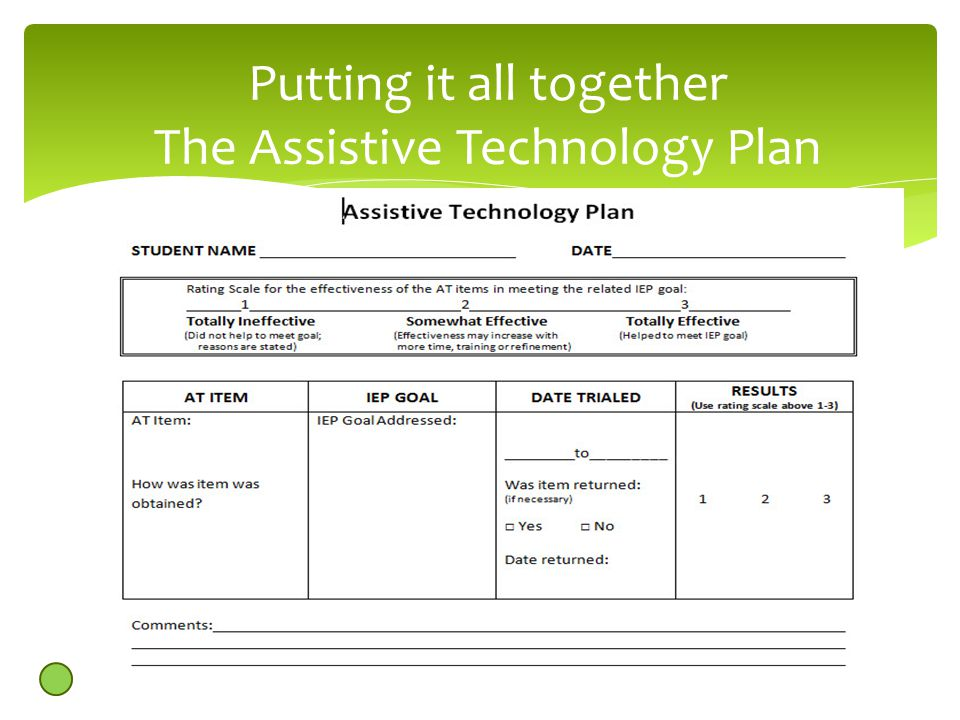 Putting it all together The Assistive Technology Plan