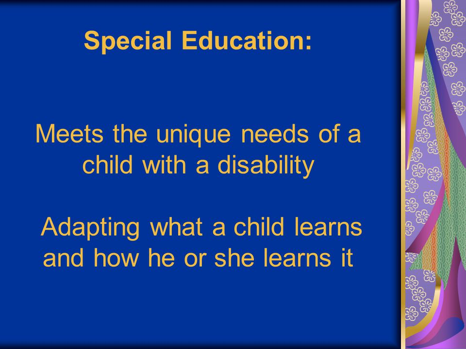 Special Education: Meets the unique needs of a child with a disability Adapting what a child learns and how he or she learns it