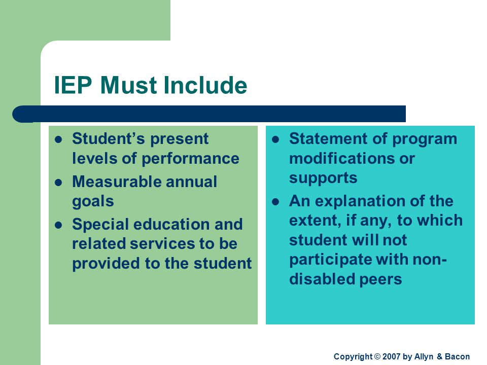 Copyright © 2007 by Allyn & Bacon IEP Must Include Student's present levels of performance Measurable annual goals Special education and related services to be provided to the student Statement of program modifications or supports An explanation of the extent, if any, to which student will not participate with non- disabled peers