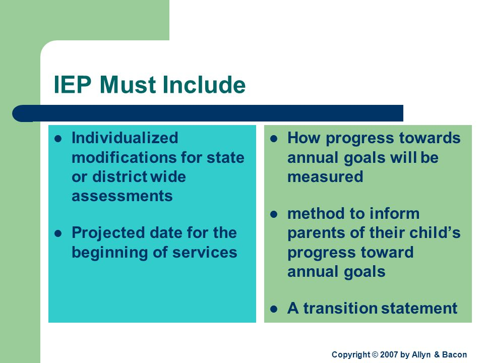 Copyright © 2007 by Allyn & Bacon IEP Must Include Individualized modifications for state or district wide assessments Projected date for the beginning of services How progress towards annual goals will be measured method to inform parents of their child's progress toward annual goals A transition statement