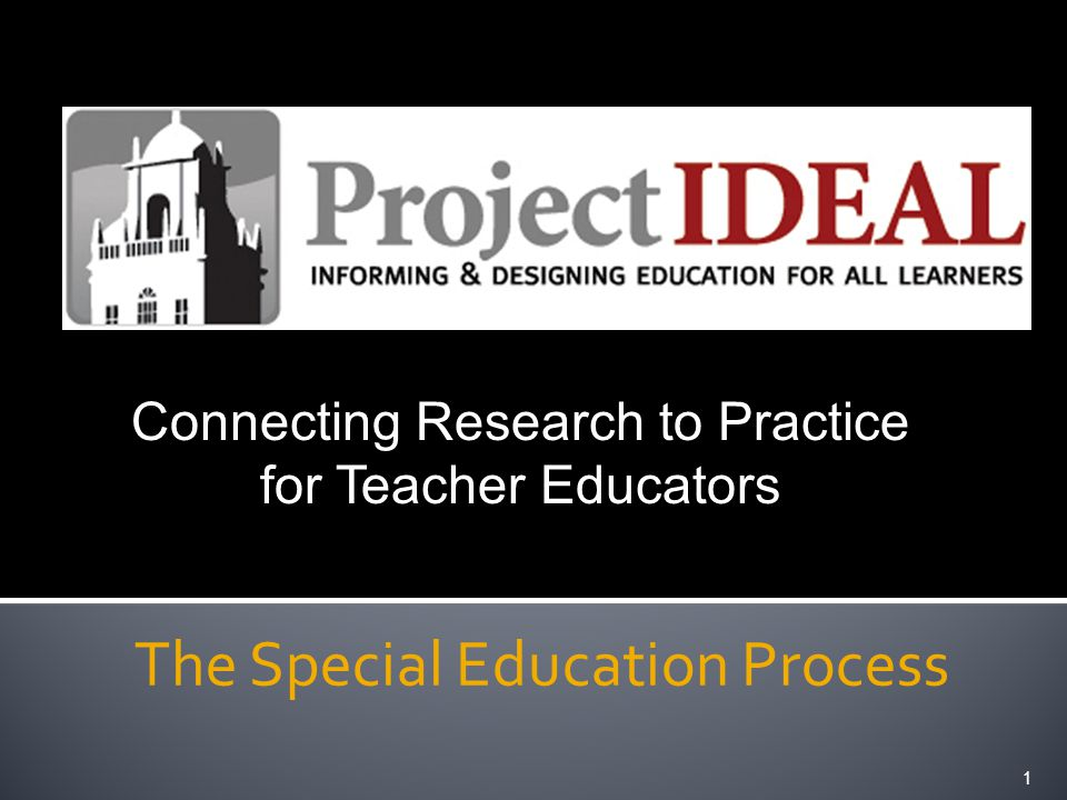 The Special Education Process 1 Connecting Research to Practice for Teacher Educators