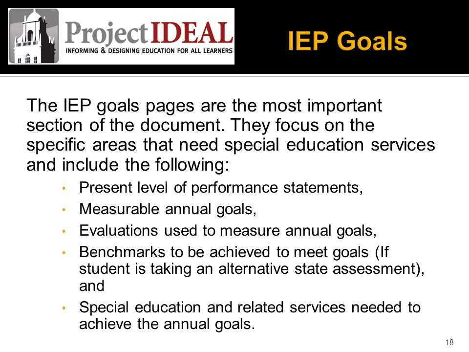 The IEP goals pages are the most important section of the document.