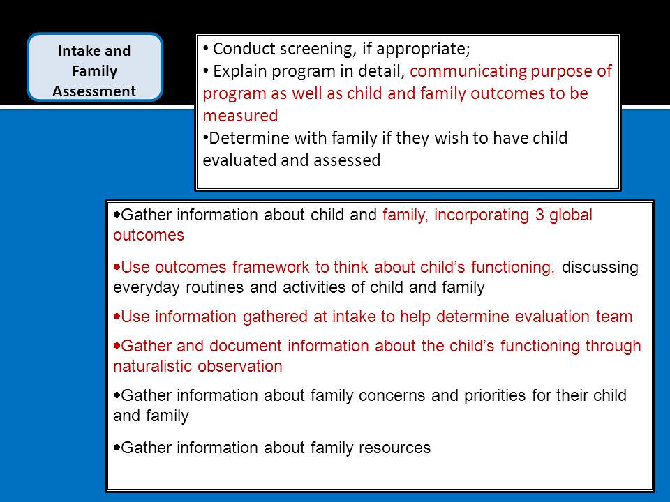 Conduct screening, if appropriate; Explain program in detail, communicating purpose of program as well as child and family outcomes to be measured Determine with family if they wish to have child evaluated and assessed  Gather information about child and family, incorporating 3 global outcomes  Use outcomes framework to think about child's functioning, discussing everyday routines and activities of child and family  Use information gathered at intake to help determine evaluation team  Gather and document information about the child's functioning through naturalistic observation  Gather information about family concerns and priorities for their child and family  Gather information about family resources Intake and Family Assessment
