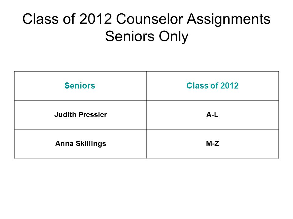 Class of 2012 Counselor Assignments Seniors Only Seniors Class of 2012 Judith PresslerA-L Anna SkillingsM-Z