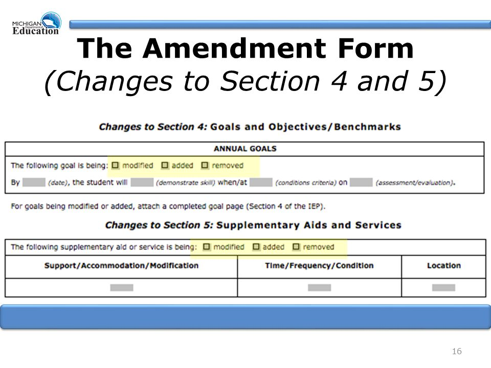 16 The Amendment Form (Changes to Section 4 and 5)