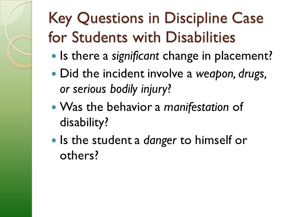 A Danger To Students With Disabilities >> Special Education Law And Discipline David Nash Esq Njpsa Legal