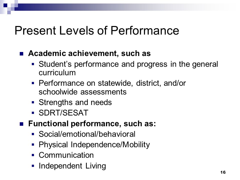 15 Individualized Education Program Present Levels of Performance Goals and Objectives Participants at the Initial IEP for a Preschool Child Attendance at Meetings IEP Amendments Consolidation of IEP Meetings