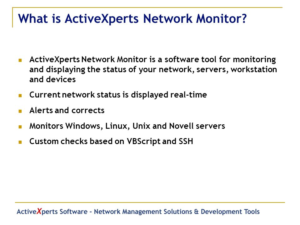 What is ActiveXperts Network Monitor.