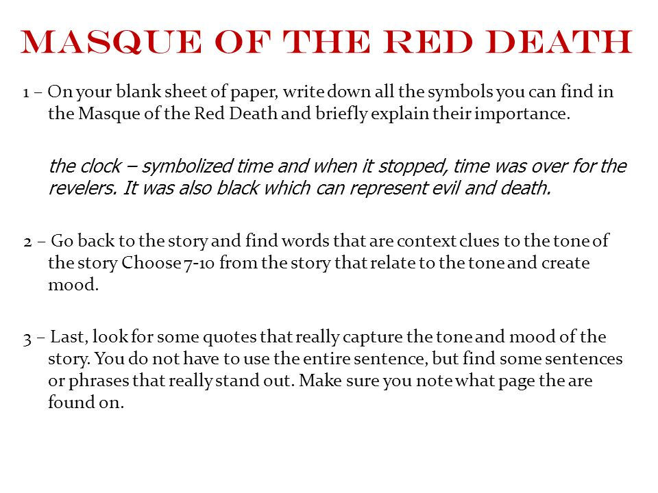 essay that analyzes poes language in the masque of the red death