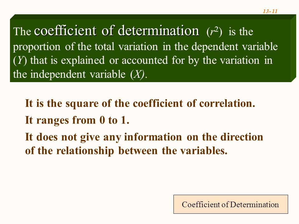 Coefficient of Determination It is the square of the coefficient of correlation.