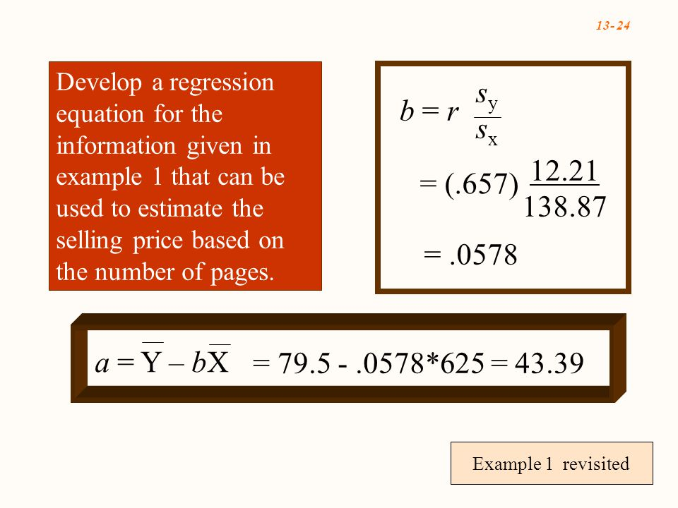 Example 1 revisited b = r sysxsysx = (.657) =.0578 a = Y – bX = *625 = Develop a regression equation for the information given in example 1 that can be used to estimate the selling price based on the number of pages.