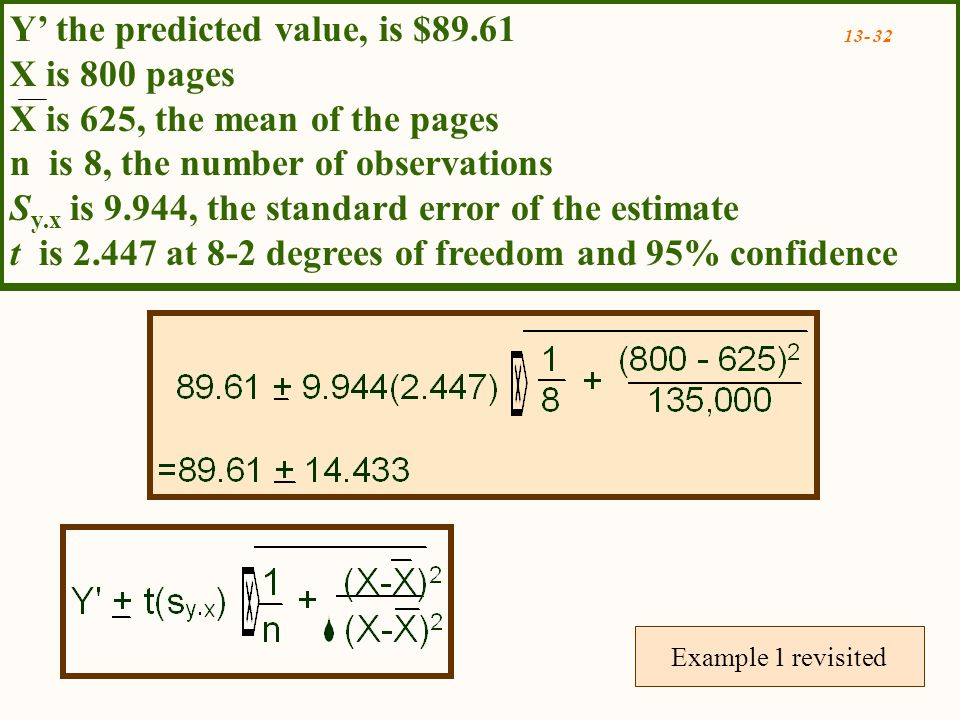 Example 1 revisited Y' the predicted value, is $89.61 X is 800 pages X is 625, the mean of the pages n is 8, the number of observations S y.x is 9.944, the standard error of the estimate t is at 8-2 degrees of freedom and 95% confidence
