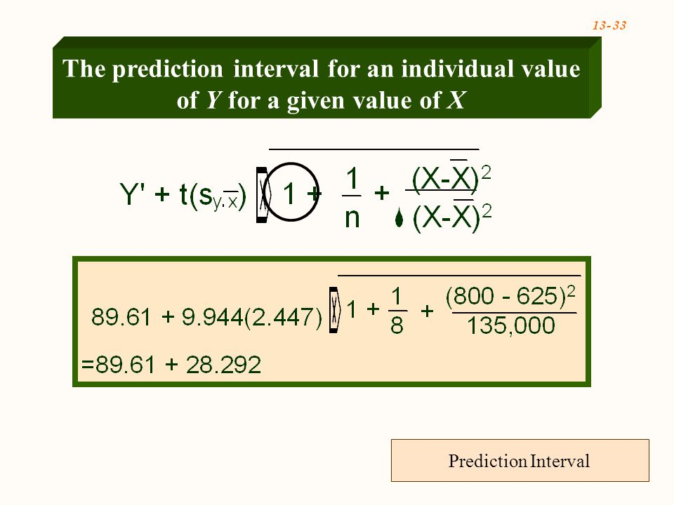 Prediction Interval The prediction interval for an individual value of Y for a given value of X