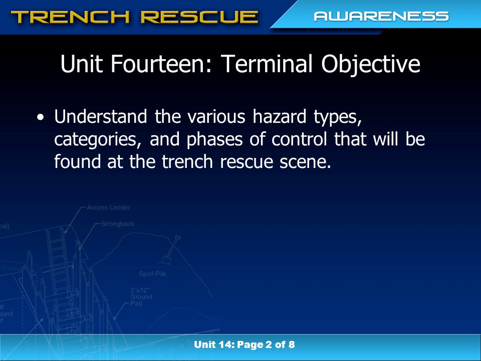 Unit Fourteen: Terminal Objective Understand the various hazard types, categories, and phases of control that will be found at the trench rescue scene.