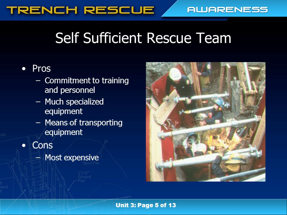 Self Sufficient Rescue Team Pros –Commitment to training and personnel –Much specialized equipment –Means of transporting equipment Cons –Most expensive Unit 3: Page 5 of 13