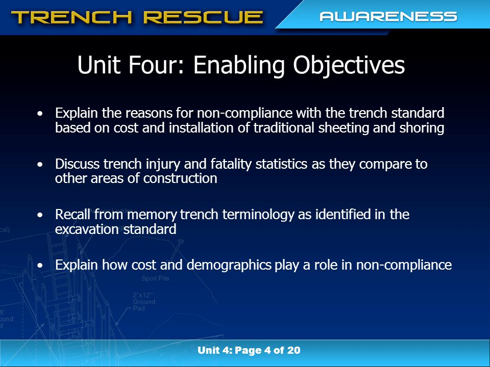 Unit Four: Enabling Objectives Explain the reasons for non-compliance with the trench standard based on cost and installation of traditional sheeting and shoring Discuss trench injury and fatality statistics as they compare to other areas of construction Recall from memory trench terminology as identified in the excavation standard Explain how cost and demographics play a role in non-compliance Unit 4: Page 4 of 20