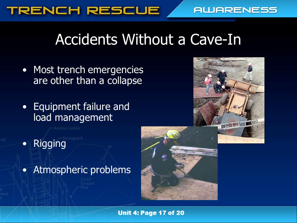 Accidents Without a Cave-In Most trench emergencies are other than a collapse Equipment failure and load management Rigging Atmospheric problems Unit 4: Page 17 of 20