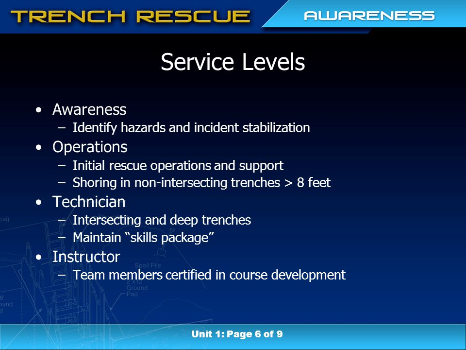 Service Levels Awareness –Identify hazards and incident stabilization Operations –Initial rescue operations and support –Shoring in non-intersecting trenches > 8 feet Technician –Intersecting and deep trenches –Maintain skills package Instructor –Team members certified in course development Unit 1: Page 6 of 9