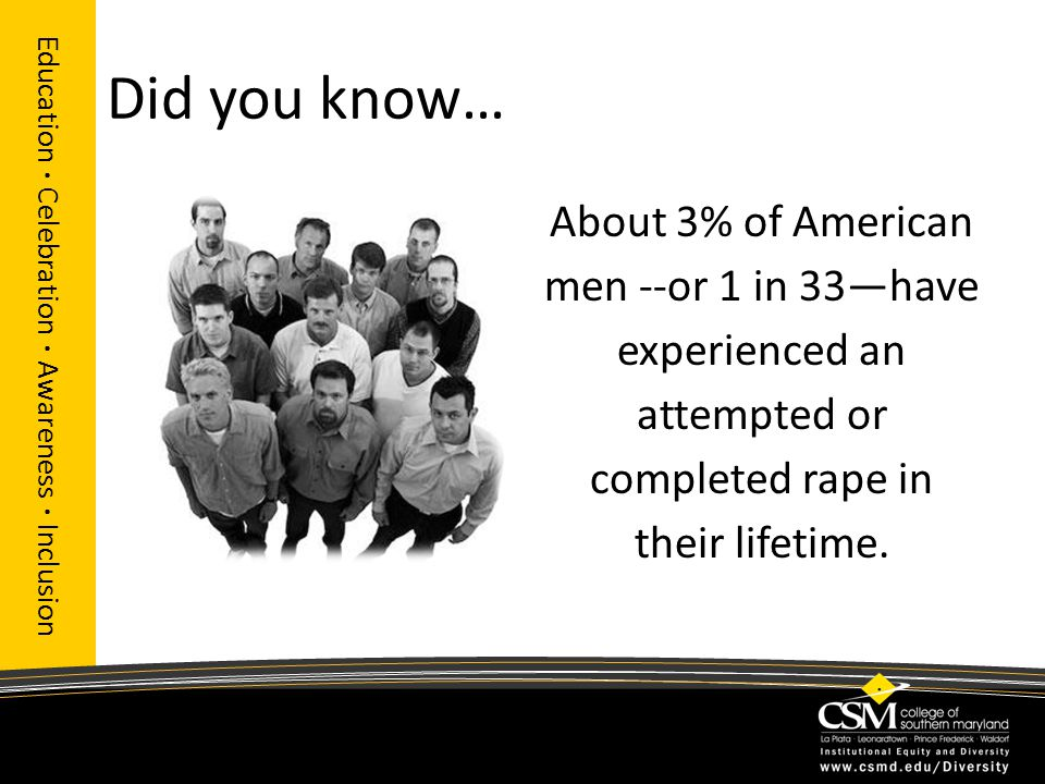Did you know… Education · Celebration · Awareness · Inclusion About 3% of American men --or 1 in 33—have experienced an attempted or completed rape in their lifetime.