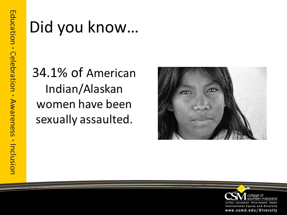 Did you know… Education · Celebration · Awareness · Inclusion 34.1% of American Indian/Alaskan women have been sexually assaulted.