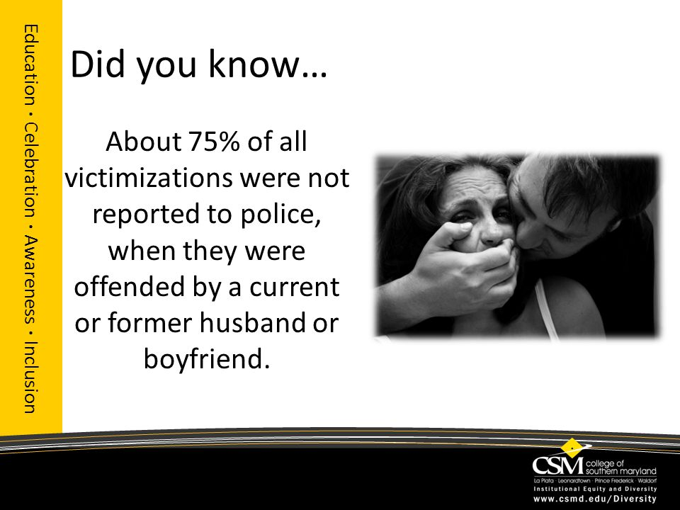 Did you know… About 75% of all victimizations were not reported to police, when they were offended by a current or former husband or boyfriend.