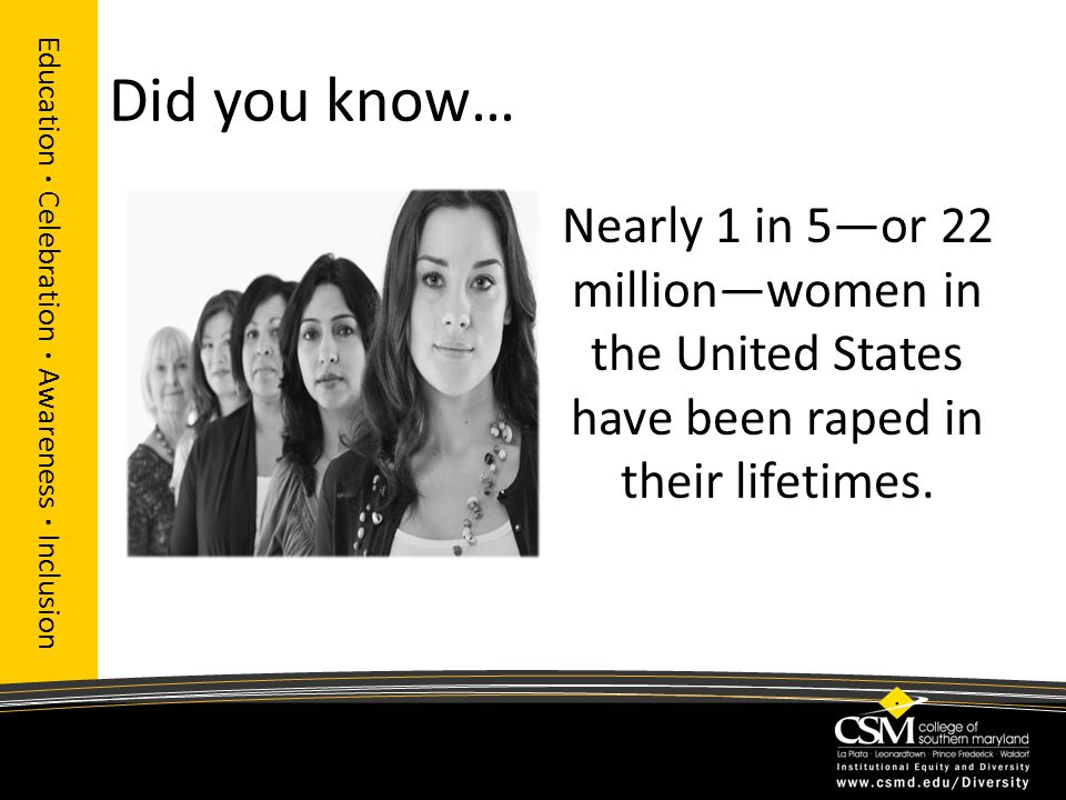 Did you know… Education · Celebration · Awareness · Inclusion Nearly 1 in 5—or 22 million—women in the United States have been raped in their lifetimes.