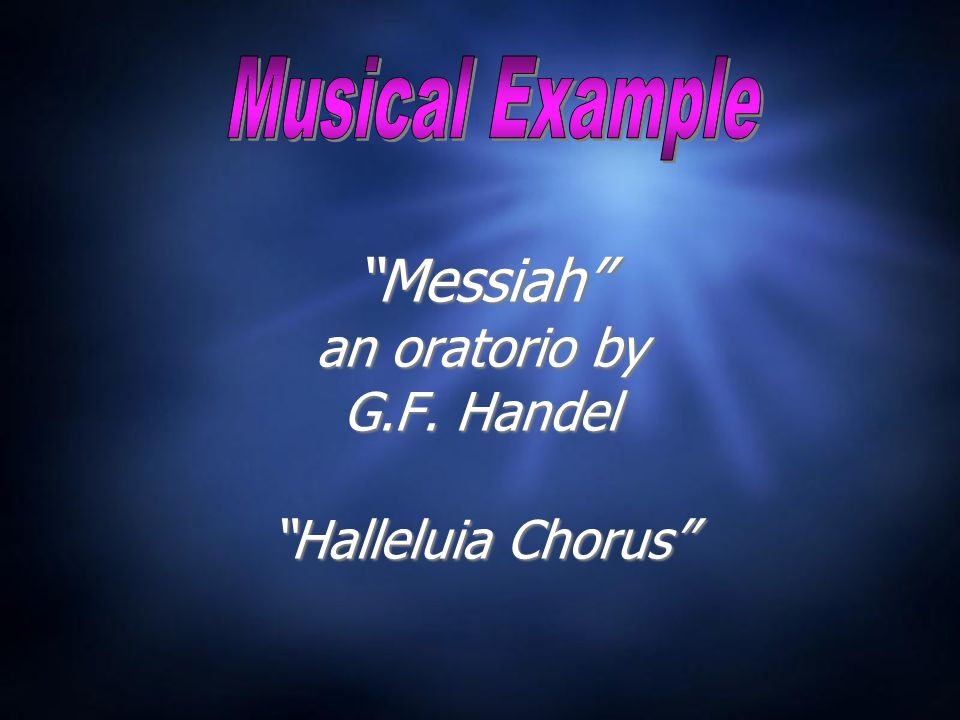 Messiah an oratorio by G.F. Handel Halleluia Chorus