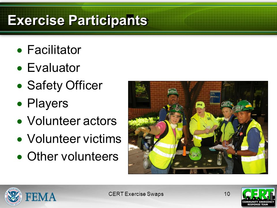 Exercise Participants  Facilitator  Evaluator  Safety Officer  Players  Volunteer actors  Volunteer victims  Other volunteers CERT Exercise Swaps10