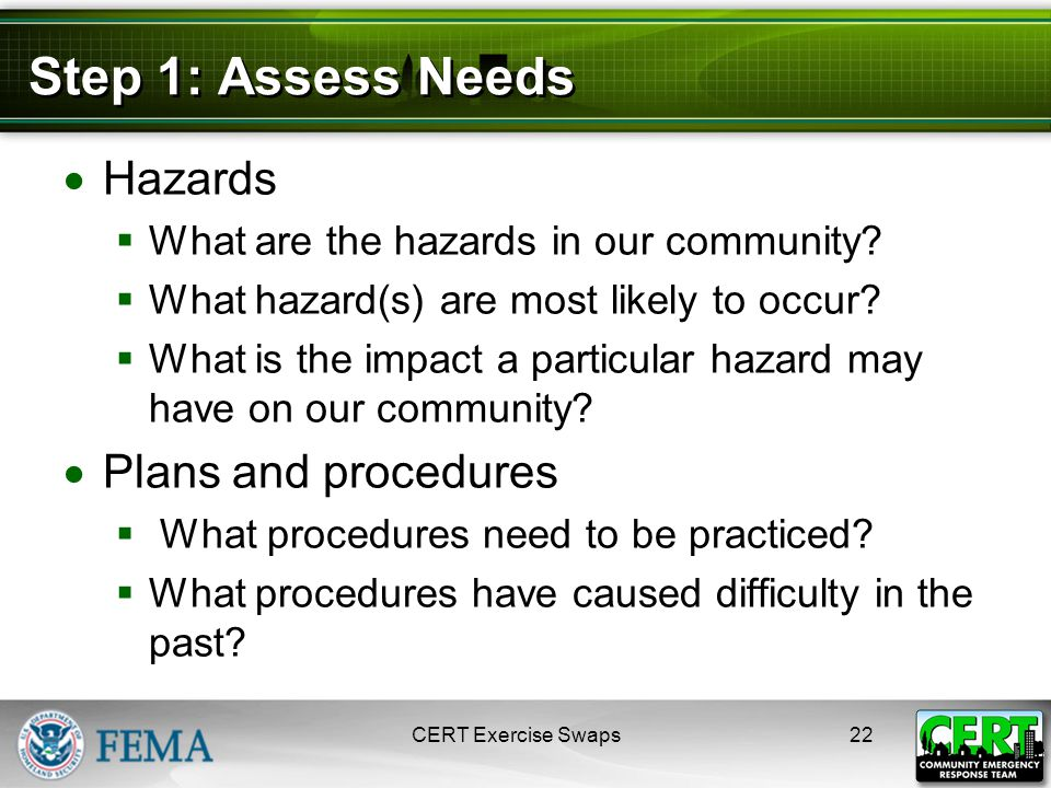 Step 1: Assess Needs  Hazards  What are the hazards in our community.